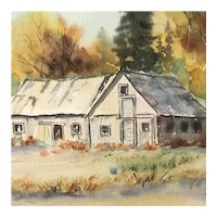 """Stevens Highway Barn"" Original Watercolor by Naomi Snider, Signed Framed & Matted"
