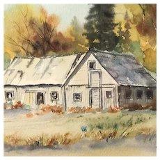 """Stevens Highway Barn"" Original Watercolor by Naomi Snider, Signed Framed & Matted"