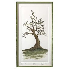 """Peace Tree"" Etching by Peggy Hinton, Signed Artist's Proof, Framed & matted"