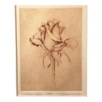 """""""Salmon Rose"""" Etching by Ramona Hammerly, signed"""
