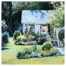 Cottage with Gardens Original Plein Air Painting - Signed, Framed, & Matted