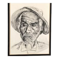 Old Man Original Ink Wash by D'Agosto, signed & framed