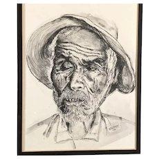 Old Man Original Ink Wash by D'Agosto, signed & framed