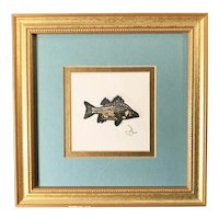 Fish Original Etching signed by artist, Framed & Matted