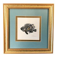 Original Fish Etching signed by artist, Framed & Matted
