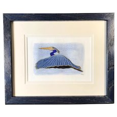 Blue Crane Original Mixed Media Print, signed & framed