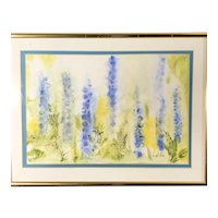 Hollyhocks Original Impressionist Watercolor, signed & framed