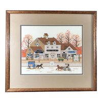 """""""Antique Shoppes"""" after Wysocki,  Completed Cross Stitch, Framed & Matted"""