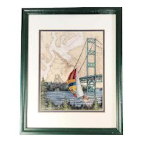 Tacoma Narrows Bridge, Nautical Charts Sailing Art Print, signed & framed