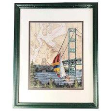 Tacoma Narrows Bridge, Nautical Charts Sailing Art Print, signed & framed