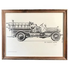 """""""1914 Seagrave Pumper"""" Vintage Fire Truck print, signed by Dave """"Hubie"""" Hubert"""