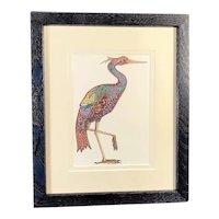Heron Print in Blue Wood Frame