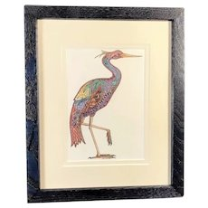 Heron Print in Blue Wood Frame