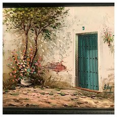 Old Spanish Courtyard with Green Door, Miniature Oil Painting, signed & framed