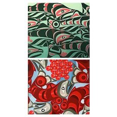 """""""Reunion"""" and  """"Vitality"""" Salmon by Andy Everson, Northwest Native American Art Prints, framed & matted"""