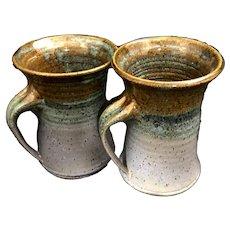 Art Pottery Irish Coffee, Tea, or Beer Mug set, Hand Thrown