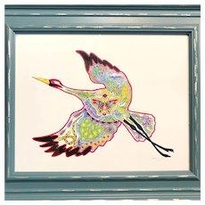 Crane by Sue Coccia, signed & framed