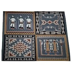 Navajo Weaved Rug by Mary Long 1970's Four-in-One Yei Sand Painting