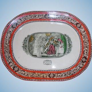 Antique W M Adams Shakespeare MacBeth Oval Vegetable Platter Transferware