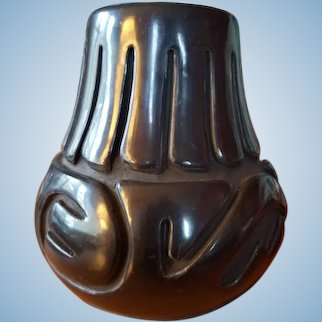 Signed Santa Clara Pueblo Black Pottery - Stella Chavarria