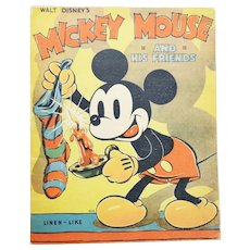 1936 Micky Mouse And His Friends FIRST EDITION Disney Linen Like #904