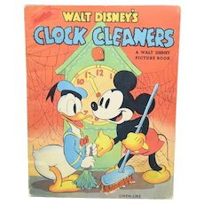 1938 Clock Cleaners Micky Mouse Donald Duck FIRST EDITION Disney Linen Like #947