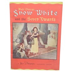 1935 Snow White And The Seven Dwarfs FIRST EDITION Disney Linen Like #927