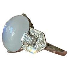 Art Deco Platinum Moonstone and Diamond Ring