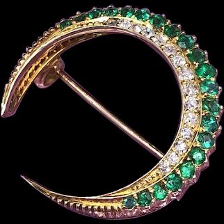 Victorian Emerald and Diamond Crescent Brooch