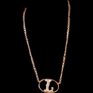 Vintage Vermeil L Monogram Necklace