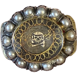 C. 1690-1710 Mourning Slide with Pearl Halo