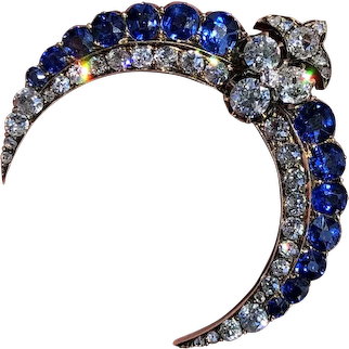 Antique 19th Century Russian Sapphire and Diamond Crescent