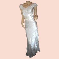 1930s nightgown sheer lace by Bennington bias-cut rayon XS slip