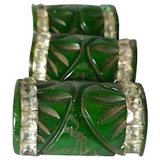 """Bakelite: 3 carved, marbled buttons w/rhinestones, 1.25"""", Creamed spinach: green/yellow"""