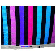 1.5 Yards 1980s Spandex striped fabric - jewel tones