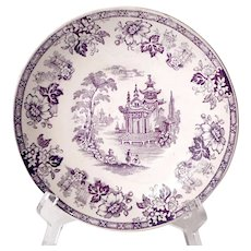 """6"""" 1800s transferware Brownfield and Sons Madras bowl in mulberry/plum"""