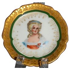 1900s Limoges William Guerin hand-painted woman porcelain gilt butter pat