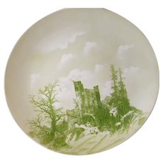 "1898-1906 Rosenthal 13.25"" green transferware platter/plate with hunters and dog at castle ruins in winter EX"