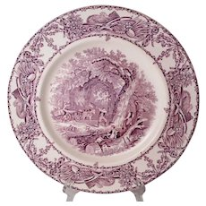 """Rural Scenes transferware Clarice Cliff for Royal Staffordshire 10"""" dinner plate in mulberry/plum EX"""