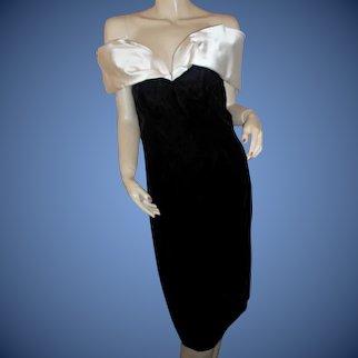 Silk & velvet 1980s-90s Victor Costa Bergdorf Goodman evening dress 12
