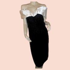 Victor Costa Bergdorf Goodman silk & velvet 1980s-90s evening dress 12