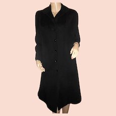 1950s-60s black wool winter coat M-L