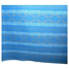 2.5 Yards 1970s double-knit Polyester fabric - Blue geometric