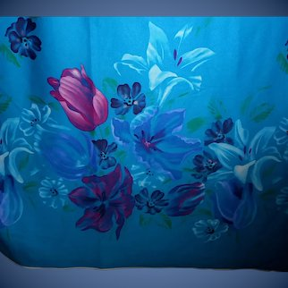 10.2 Yards 1970s-80s Polyester fabric - Huge blue floral