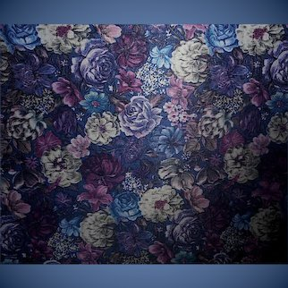 1.5 Yards 1970s-80s Polyester fabric - Blue and purple romantic florals