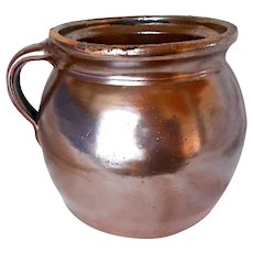 1800s Primitive stoneware pitcher - gorgeous brown luster american farmhouse kitchen jug