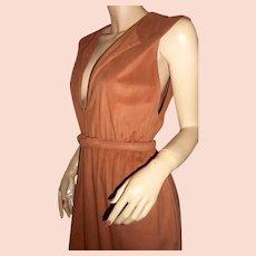 Victor Costa 1970s low-cut safari brown dress 8