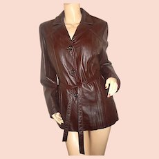 1970s lined Wilsons brown leather trench coat 14