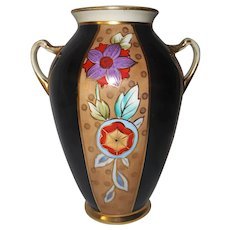 "1930s Noritake vase | green M wreath logo | 7.5"" | Art Deco | handpainted with gilt"