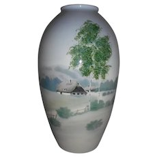 Hand-painted scenic porcelain vase w/maker's mark 9-3/8""